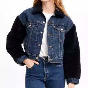 Levi's Premium Denim Sherpa Bomber Jacket Retro Boxy Fit Trucker Quilted Lining